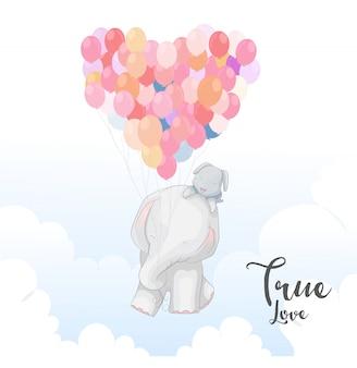 Casal romântico elefante fofo com balão colorido