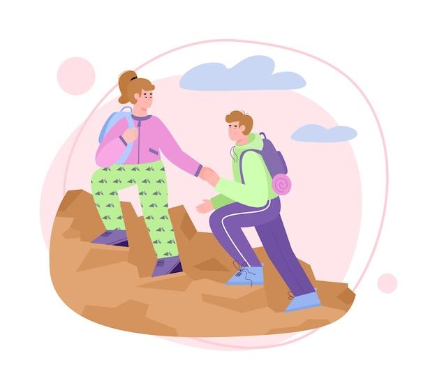 Casal romântico escalando penhasco ou montanha, par de caminhantes ou turistas, homem e mulher, ajudando uns aos outros.