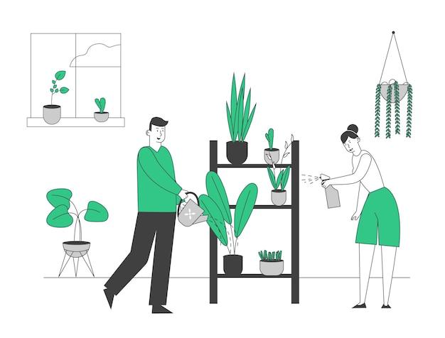 Casal romântico feliz cuidando das plantas caseiras