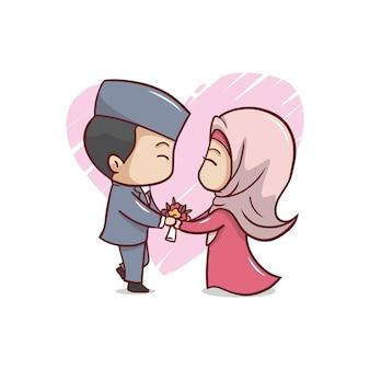 Casal romântico fofo muçulmano