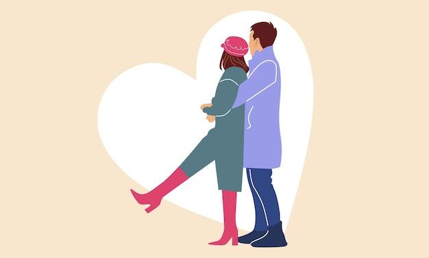 Casal romântico. homem abraça a namorada dele