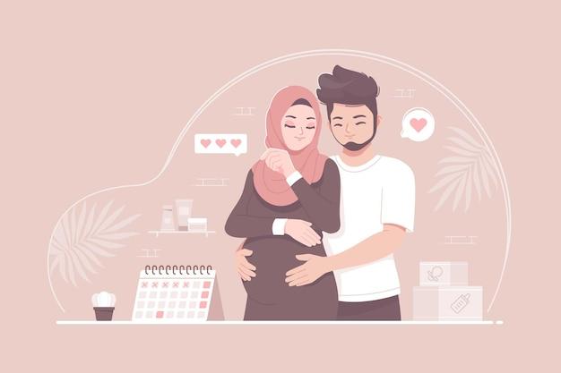 Casal romântico islâmico parceiro durante a gravidez