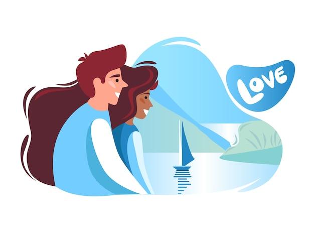 Casal romantico. um homem e uma mulher olham para o navio no mar.