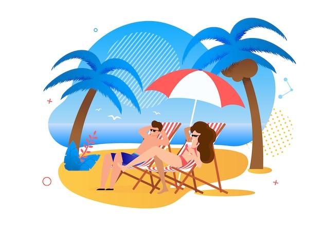 Casal satisfeito dos desenhos animados, descansando na praia tropical