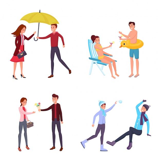 Casal sazonal atividades ao ar livre s conjunto