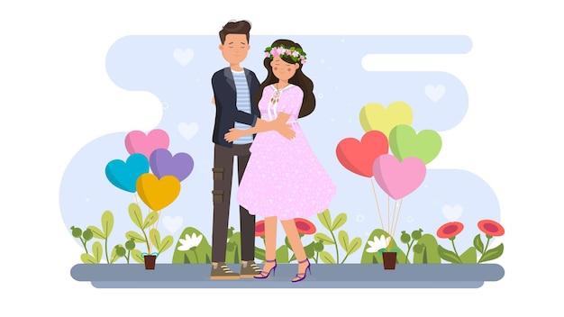 Casal se abraçando na ilustração do dia dos namorados