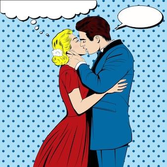 Casal se beijando no estilo de quadrinhos pop art.