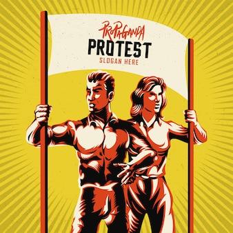 Casal segurando a ilustração em vetor de cartaz em branco