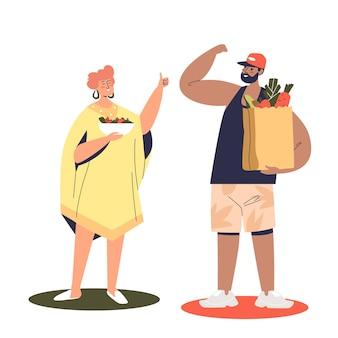 Casal segurando sacolas de vegetais orgânicos frescos e ilustração de frutas