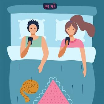 Casal sem sono usa smartphone na cama. conceito de insônia. vista do topo. jovem e mulher com dependência de gadget. ilustração plana dos desenhos animados