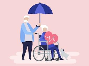 Casal sênior com ícones de seguros de saúde relacionados