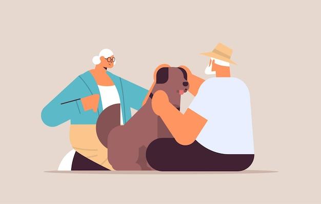 Casal sênior passando tempo com cachorrinho relaxamento conceito aposentadoria ilustração vetorial horizontal de comprimento total
