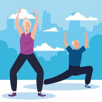 Casal sênior praticando exercício ao ar livre, conceito de recreação do esporte.