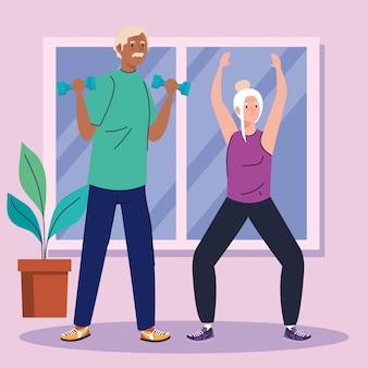 Casal sênior praticando exercícios em casa.