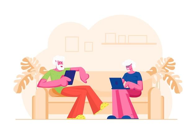 Casal sênior, sentado no sofá, usando dispositivos digitais. ilustração plana dos desenhos animados
