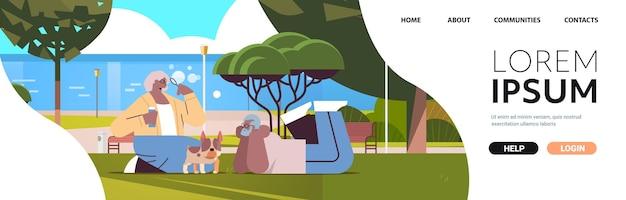 Casal sênior soprando bolhas e passando um tempo com o cachorro no parque urbano, relaxamento, aposentadoria, conceito, cópia espaço, comprimento total, horizontal, vetorial, ilustração