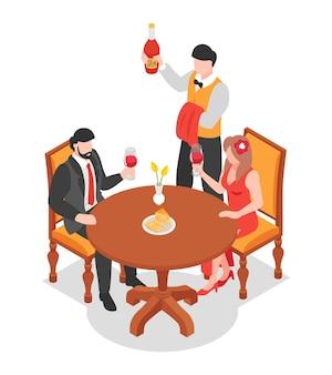 Casal sentado à mesa do restaurante degustando vinho tinto e sommelier com ilustração isométrica de garrafa
