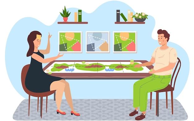 Casal sentado à mesa e jogando um jogo de tabuleiro