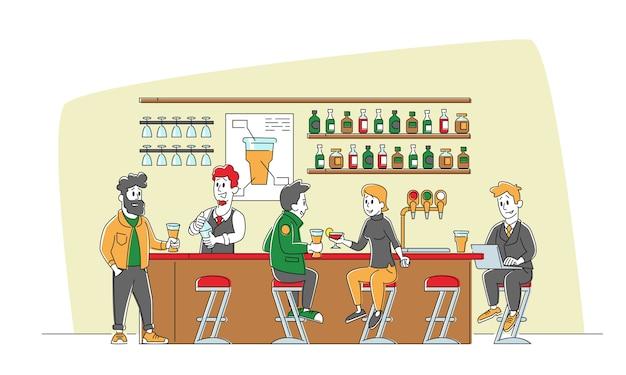 Casal sentado em cadeiras altas, bebendo álcool na mesa do balcão