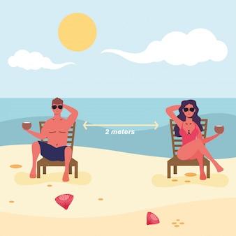 Casal sentado em cadeiras de praia praticando distância social