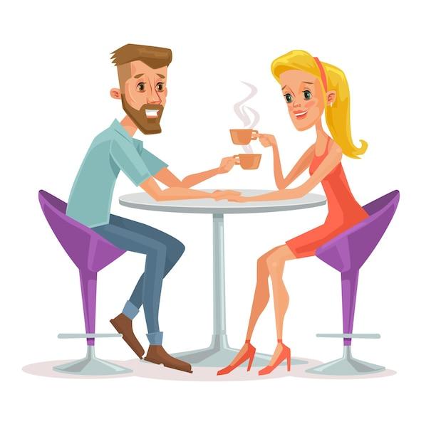 Casal sentado no café e bebendo café.
