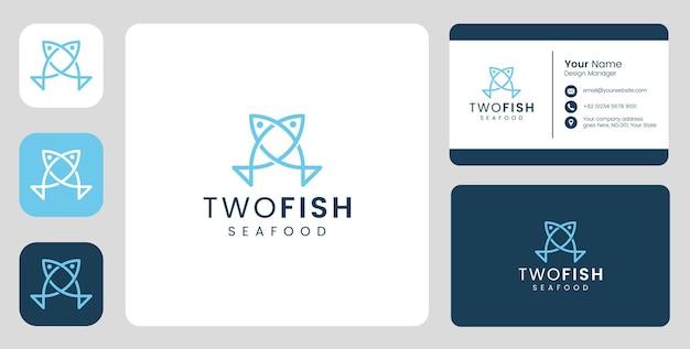 Casal simples logotipo de peixe com modelo estacionário