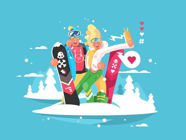 Casal snowboarders menino e menina fazendo selfie no smartphone. ilustração
