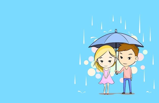 Casal sob um guarda-chuva