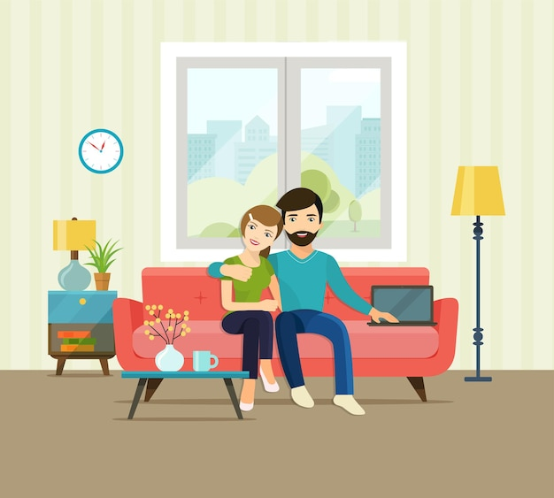 Casal sorridente em casa, sentado no sofá da sala de estar. ilustração em vetor plana