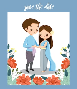 Casal tailandês para cartão de invitatiions de casamento