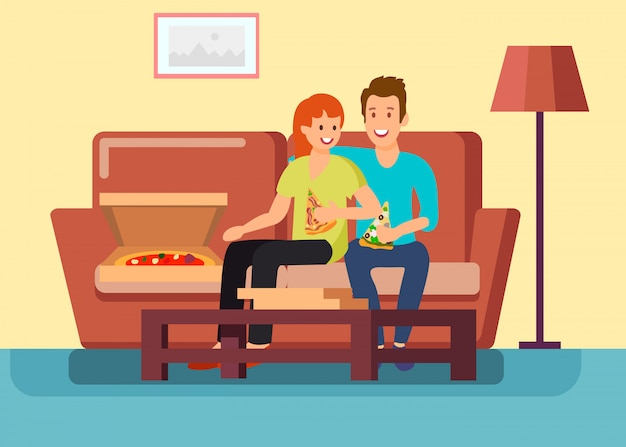 Casal tendo data em casa ilustração vetorial