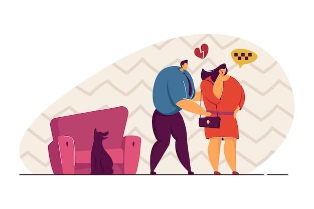 Casal tendo ilustração vetorial de argumento. mulher indo embora, chamando um táxi. o homem está com o coração partido, tentando ficar bem com ela. conceito de problema de relacionamento para banner, design de site ou página de destino da web