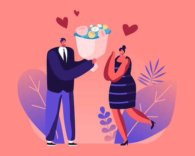 Casal tendo namoro. homem dá um presente para a namorada. ilustração plana dos desenhos animados
