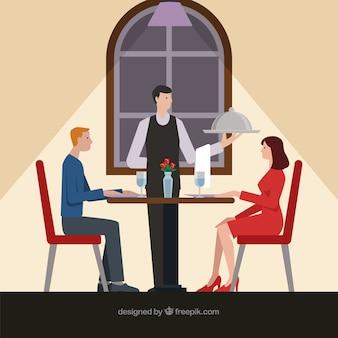 Casal tendo um jantar romântico com design plano