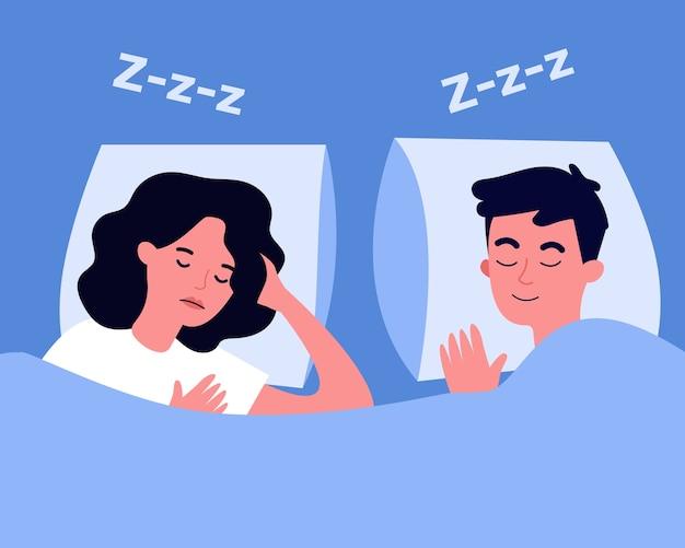 Casal tranquilo dormindo na cama