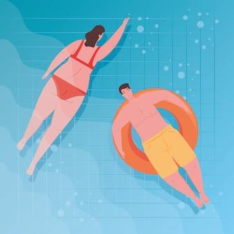 Casal usando maiô, mulher nadando e homem tomando banho de sol no inflável, na piscina, temporada de férias de verão
