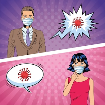 Casal usando máscaras faciais e covid19 partículas estilo pop art