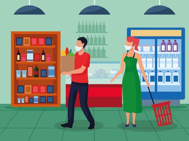 Casal usando máscaras no supermercado