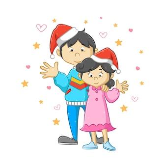 Casal usando o chapéu de natal e celebrando o natal juntos