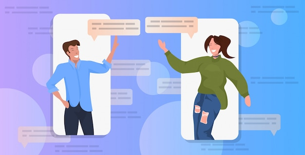 Casal usando o conceito de comunicação de bolha de bate-papo app rede social