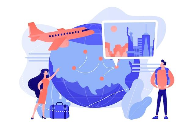 Casal vai de férias ao redor do mundo. tour pela agência de viagens