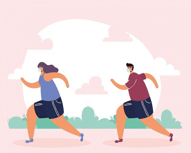 Casal vestindo máscara médica executando esporte no parque