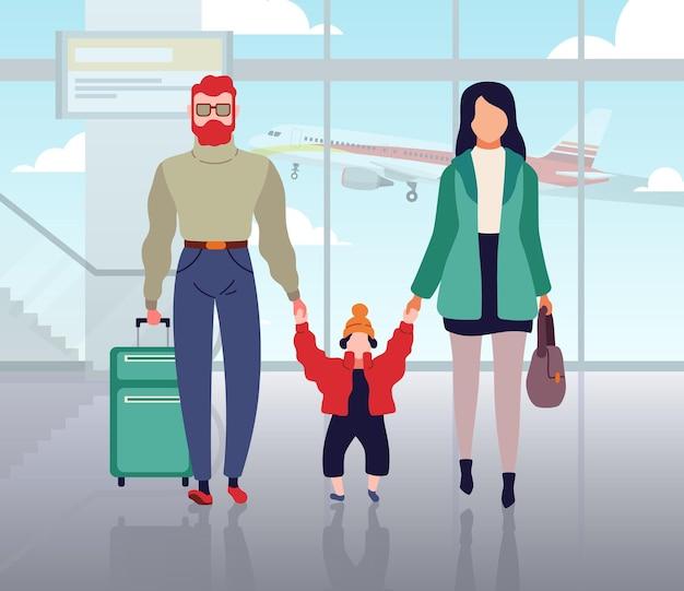 Casal viajando com criança no aeroporto