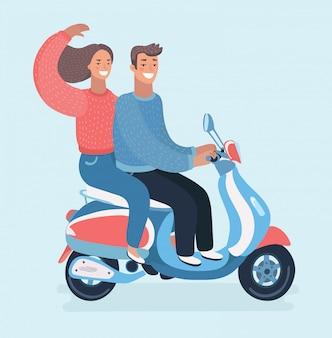Casal viajando de scooter, família de personagens de desenhos animados