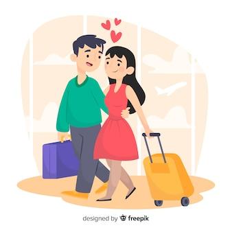 Casal viajando mão desenhada estilo