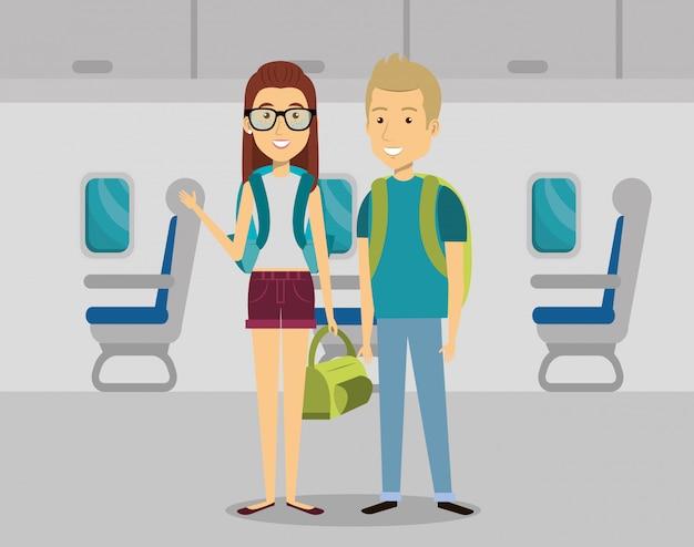 Casal viajantes no avião