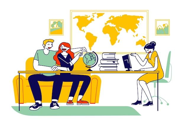 Casal visitando uma agência de viagens, comprando turismo e saindo de férias ao redor do mundo ou viajando pelo interior, turismo local ilustração plana dos desenhos animados