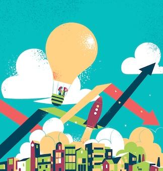Casal voando sobre uma cidade em um balão de ar quente