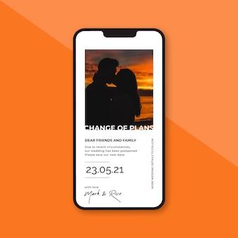 Casamento adiado no conceito móvel