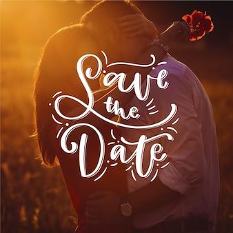 Casamento bonito salvar a data com foto
